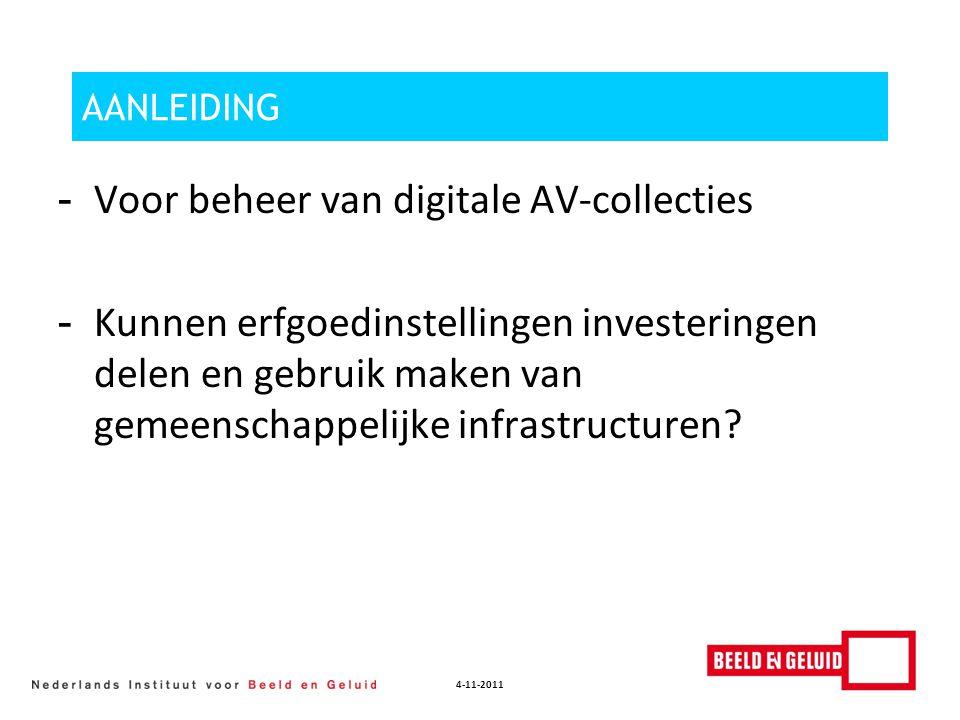 4-11-2011 AANLEIDING - Voor beheer van digitale AV-collecties - Kunnen erfgoedinstellingen investeringen delen en gebruik maken van gemeenschappelijke