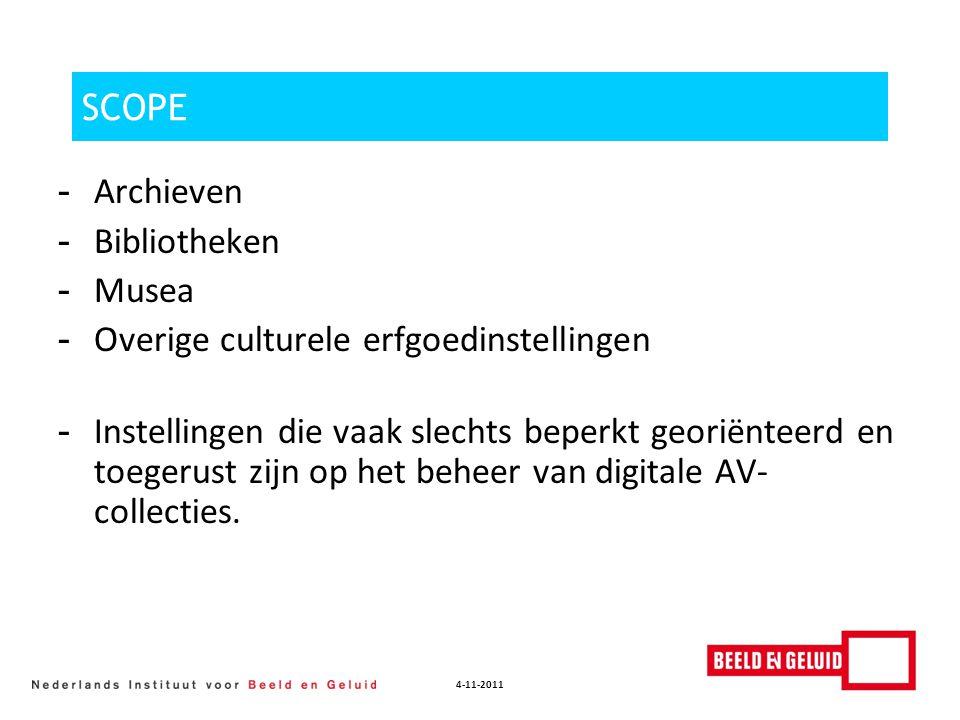 4-11-2011 SCOPE - Archieven - Bibliotheken - Musea - Overige culturele erfgoedinstellingen - Instellingen die vaak slechts beperkt georiënteerd en toe