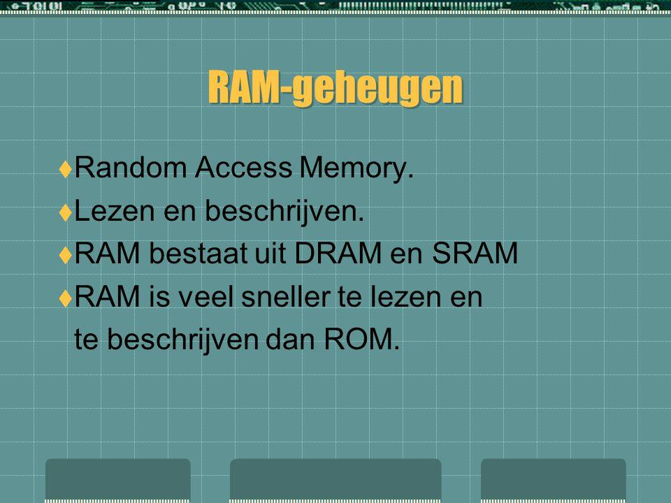  Random Access Memory.  Lezen en beschrijven.  RAM bestaat uit DRAM en SRAM  RAM is veel sneller te lezen en te beschrijven dan ROM.