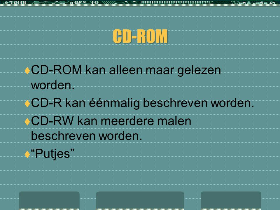 """CD-ROM  CD-ROM kan alleen maar gelezen worden.  CD-R kan éénmalig beschreven worden.  CD-RW kan meerdere malen beschreven worden.  """"Putjes"""""""