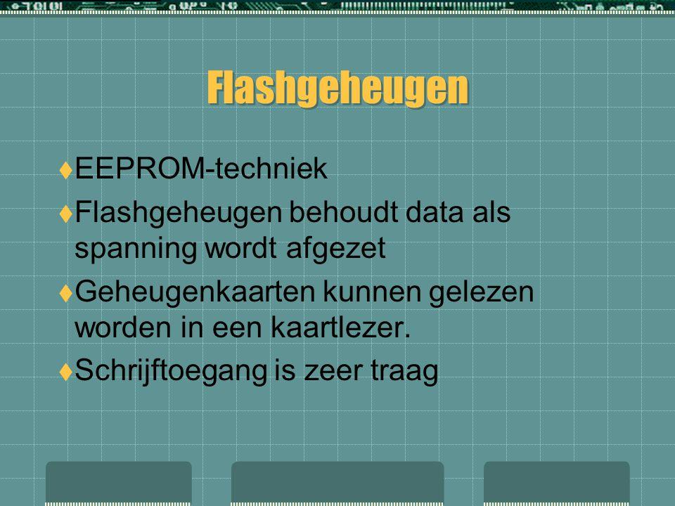  EEPROM-techniek  Flashgeheugen behoudt data als spanning wordt afgezet  Geheugenkaarten kunnen gelezen worden in een kaartlezer.  Schrijftoegang