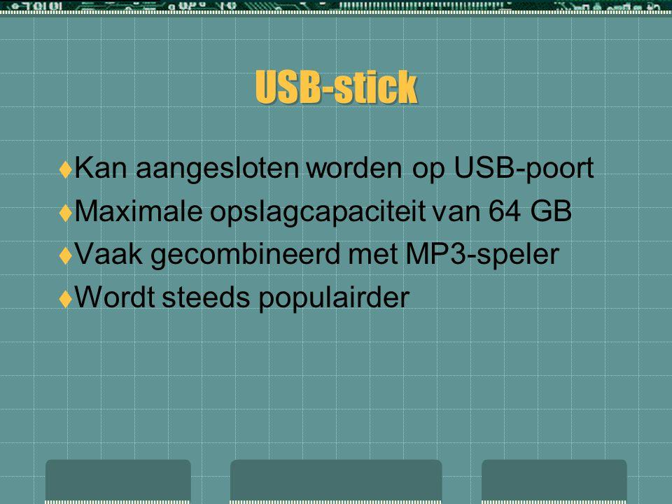  Kan aangesloten worden op USB-poort  Maximale opslagcapaciteit van 64 GB  Vaak gecombineerd met MP3-speler  Wordt steeds populairder