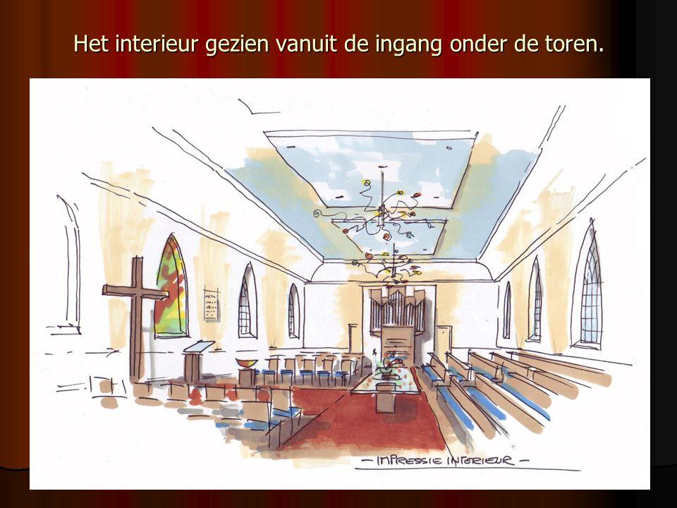 Het interieur gezien vanuit de ingang onder de toren.