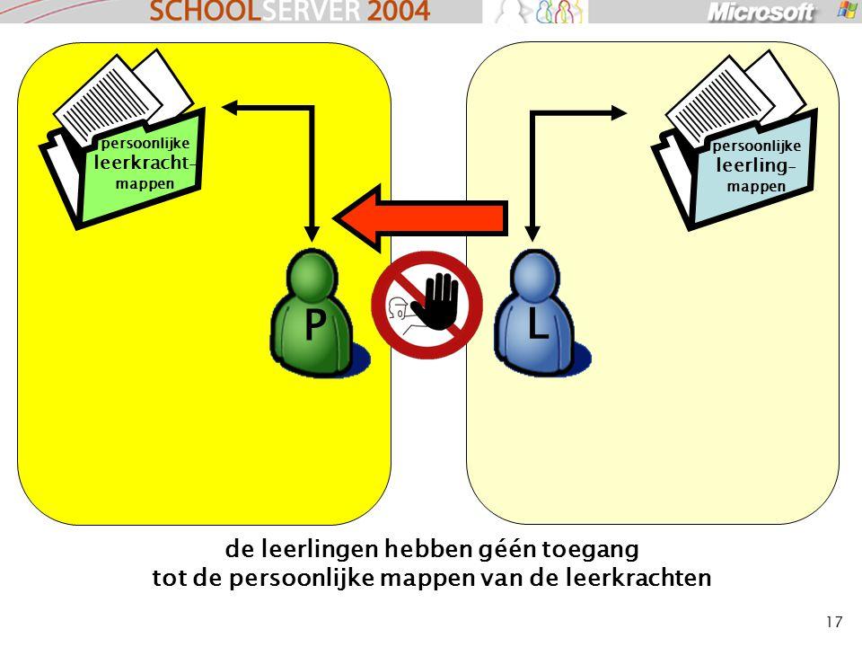 17 de leerlingen hebben géén toegang tot de persoonlijke mappen van de leerkrachten L P persoonlijke leerkracht - mappen persoonlijke leerling - mappen