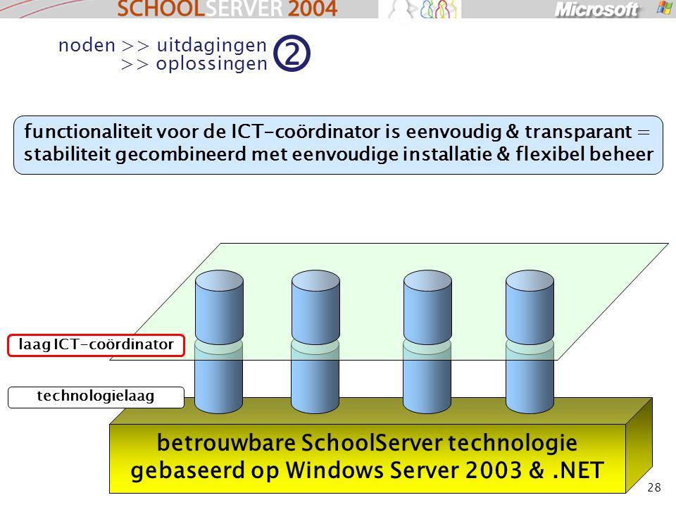28 betrouwbare SchoolServer technologie gebaseerd op Windows Server 2003 &.NET laag ICT-coördinator technologielaag functionaliteit voor de ICT-coördinator is eenvoudig & transparant = stabiliteit gecombineerd met eenvoudige installatie & flexibel beheer noden >> uitdagingen >> oplossingen 2