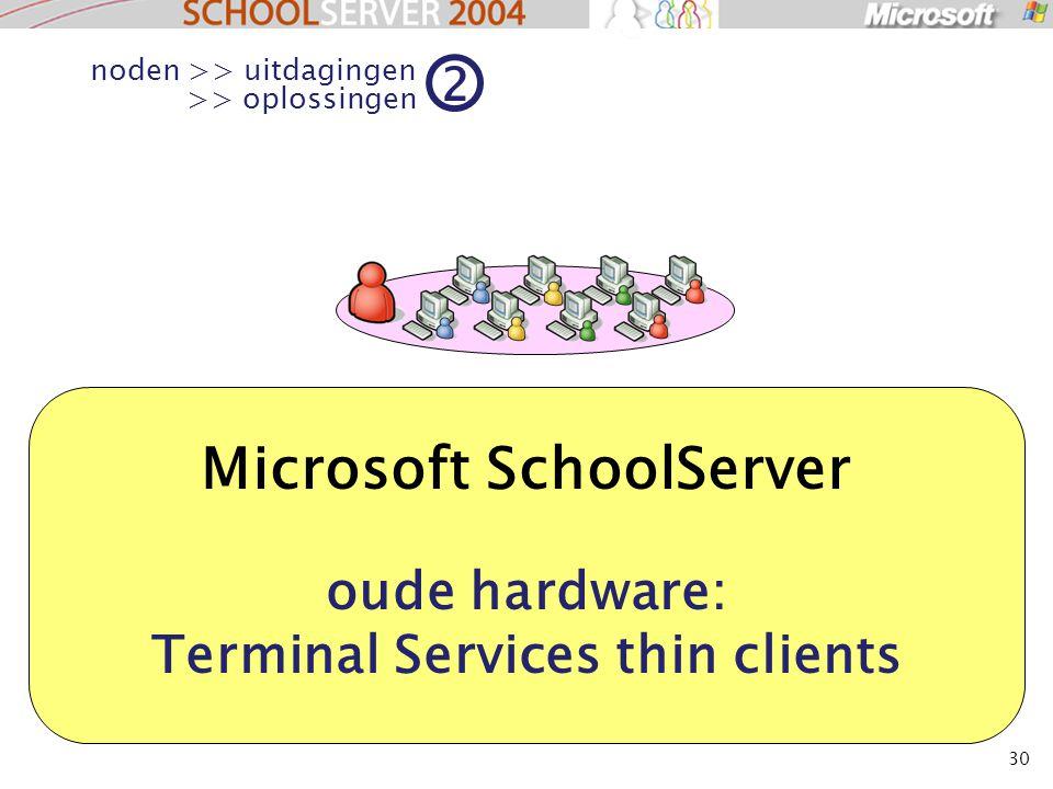 30 Microsoft SchoolServer oude hardware: Terminal Services thin clients noden >> uitdagingen >> oplossingen 2
