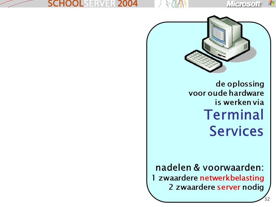 32 de oplossing voor oude hardware is werken via Terminal Services nadelen & voorwaarden: 1 zwaardere netwerkbelasting 2 zwaardere server nodig