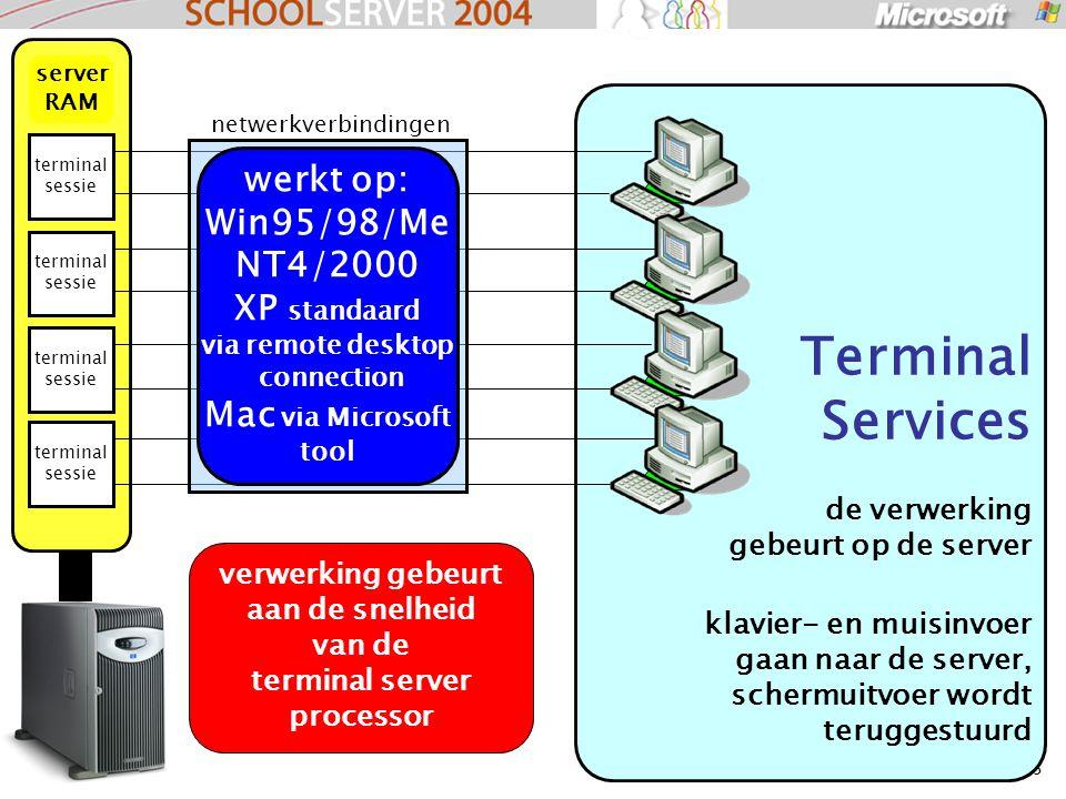 33 Terminal Services de verwerking gebeurt op de server klavier- en muisinvoer gaan naar de server, schermuitvoer wordt teruggestuurd terminal sessie server RAM netwerkverbindingen verwerking gebeurt aan de snelheid van de terminal server processor werkt op: Win95/98/Me NT4/2000 XP standaard via remote desktop connection Mac via Microsoft tool