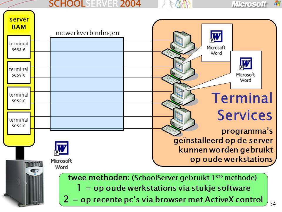 34 Terminal Services programma's geïnstalleerd op de server kunnen worden gebruikt op oude werkstations terminal sessie server RAM netwerkverbindingen twee methoden: (SchoolServer gebruikt 1 ste methode) 1 = op oude werkstations via stukje software 2 = op recente pc's via browser met ActiveX control
