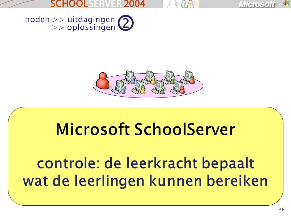 38 Microsoft SchoolServer controle: de leerkracht bepaalt wat de leerlingen kunnen bereiken noden >> uitdagingen >> oplossingen 2