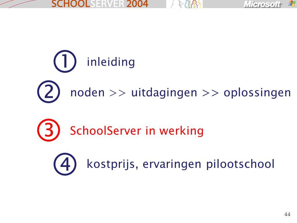 44 1 inleiding 2 noden >> uitdagingen >> oplossingen 3 SchoolServer in werking 4 kostprijs, ervaringen pilootschool