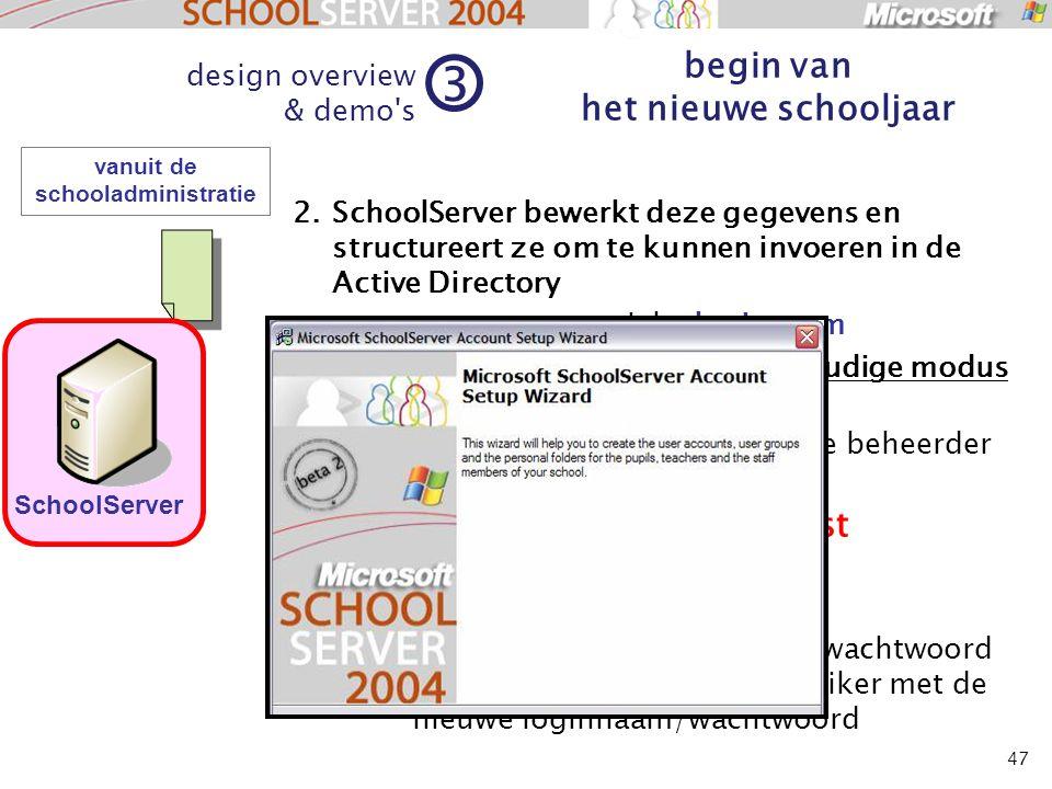 47 vanuit de schooladministratie 2.SchoolServer bewerkt deze gegevens en structureert ze om te kunnen invoeren in de Active Directory genereert een un
