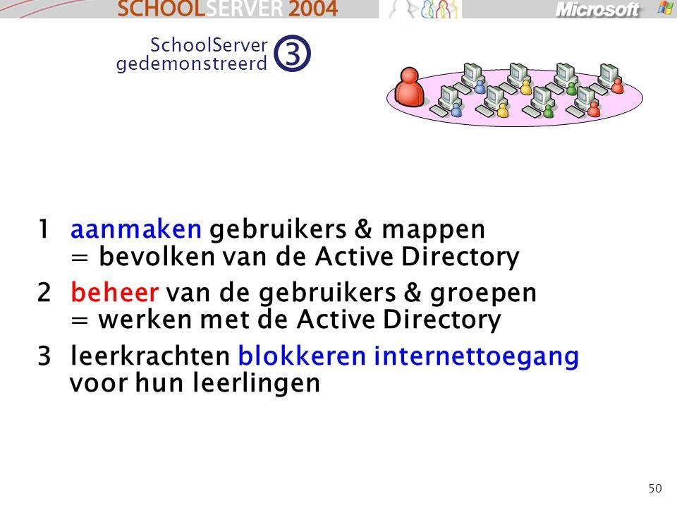 50 1 aanmaken gebruikers & mappen = bevolken van de Active Directory 2 beheer van de gebruikers & groepen = werken met de Active Directory 3 leerkrachten blokkeren internettoegang voor hun leerlingen SchoolServer gedemonstreerd 3