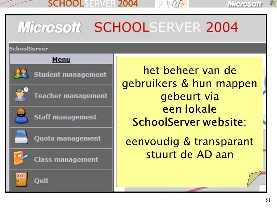 51 het beheer van de gebruikers & hun mappen gebeurt via een lokale SchoolServer website: eenvoudig & transparant stuurt de AD aan
