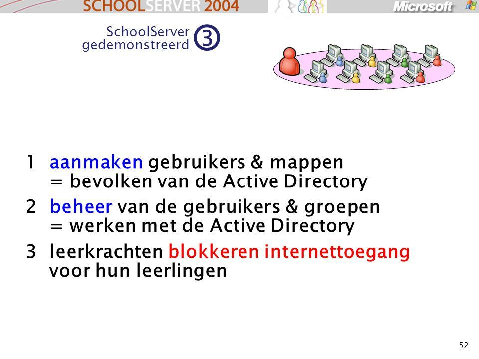 52 1 aanmaken gebruikers & mappen = bevolken van de Active Directory 2 beheer van de gebruikers & groepen = werken met de Active Directory 3 leerkrachten blokkeren internettoegang voor hun leerlingen SchoolServer gedemonstreerd 3