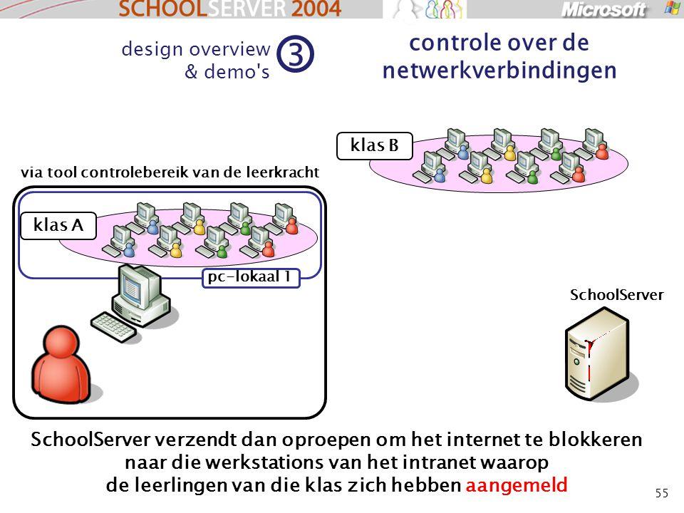 55 design overview & demo's 3 controle over de netwerkverbindingen klas B SchoolServer verzendt dan oproepen om het internet te blokkeren naar die wer