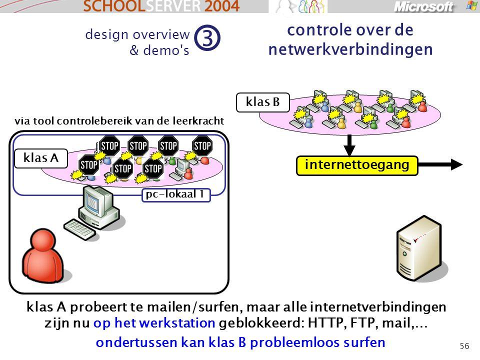 56 klas A design overview & demo s 3 controle over de netwerkverbindingen klas B klas A probeert te mailen/surfen, maar alle internetverbindingen zijn nu op het werkstation geblokkeerd: HTTP, FTP, mail,… via tool controlebereik van de leerkracht pc-lokaal 1 internettoegang ondertussen kan klas B probleemloos surfen