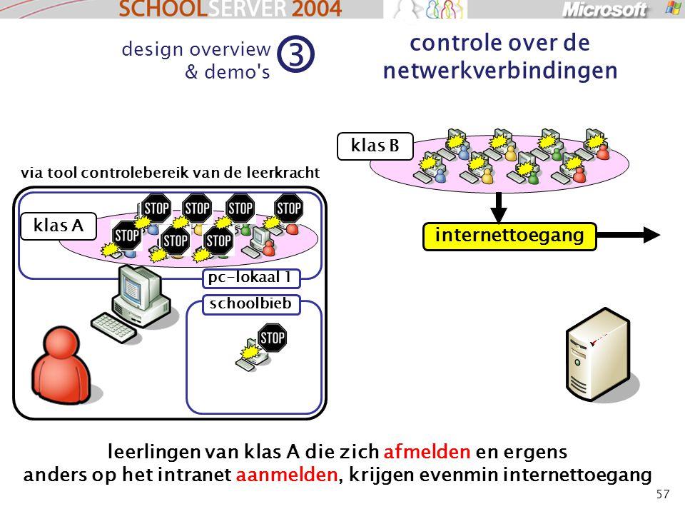 57 klas A design overview & demo s 3 controle over de netwerkverbindingen klas B leerlingen van klas A die zich afmelden en ergens anders op het intranet aanmelden, krijgen evenmin internettoegang via tool controlebereik van de leerkracht pc-lokaal 1 schoolbieb internettoegang