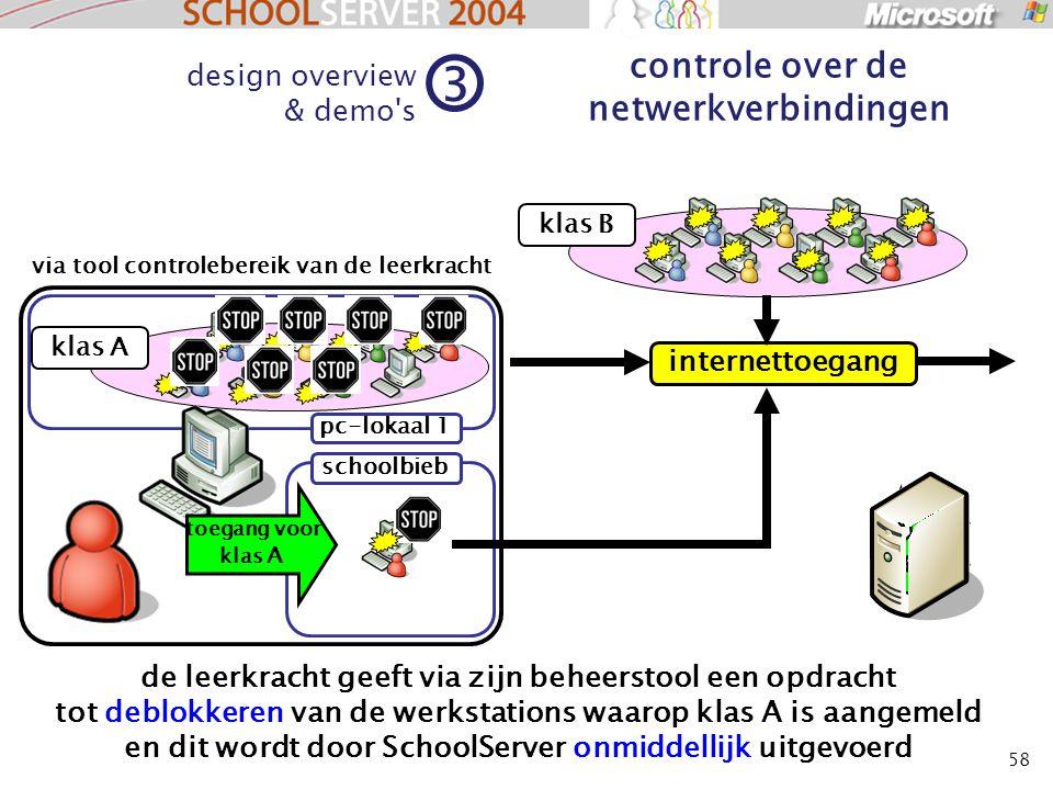 58 klas A design overview & demo's 3 controle over de netwerkverbindingen klas B de leerkracht geeft via zijn beheerstool een opdracht tot deblokkeren