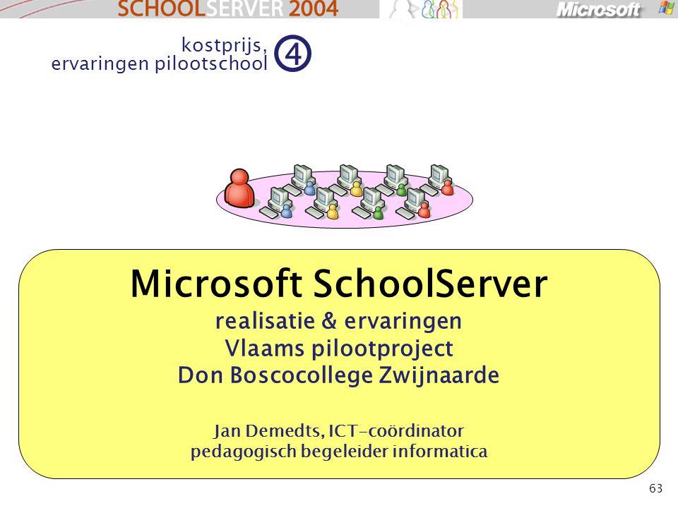 63 Microsoft SchoolServer realisatie & ervaringen Vlaams pilootproject Don Boscocollege Zwijnaarde Jan Demedts, ICT-coördinator pedagogisch begeleider informatica kostprijs, ervaringen pilootschool 4