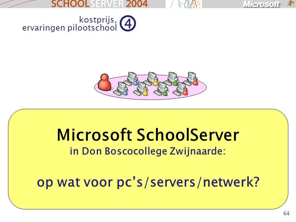 64 Microsoft SchoolServer in Don Boscocollege Zwijnaarde: op wat voor pc's/servers/netwerk? kostprijs, ervaringen pilootschool 4