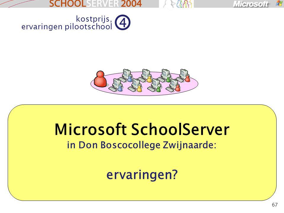 67 Microsoft SchoolServer in Don Boscocollege Zwijnaarde: ervaringen? kostprijs, ervaringen pilootschool 4