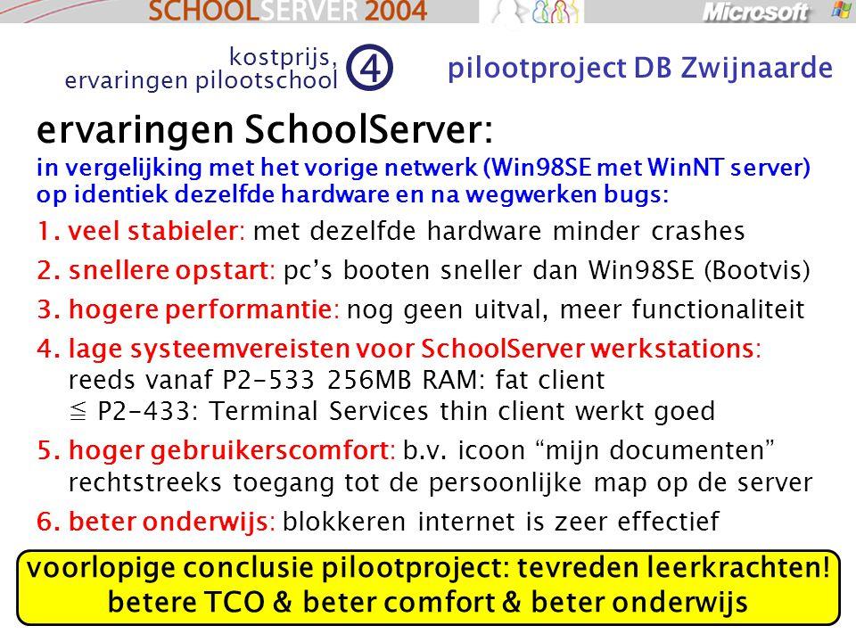 68 ervaringen SchoolServer: in vergelijking met het vorige netwerk (Win98SE met WinNT server) op identiek dezelfde hardware en na wegwerken bugs: 1.veel stabieler: met dezelfde hardware minder crashes 2.snellere opstart: pc's booten sneller dan Win98SE (Bootvis) 3.hogere performantie: nog geen uitval, meer functionaliteit 4.lage systeemvereisten voor SchoolServer werkstations: reeds vanaf P2-533 256MB RAM: fat client ≦ P2-433: Terminal Services thin client werkt goed 5.hoger gebruikerscomfort: b.v.