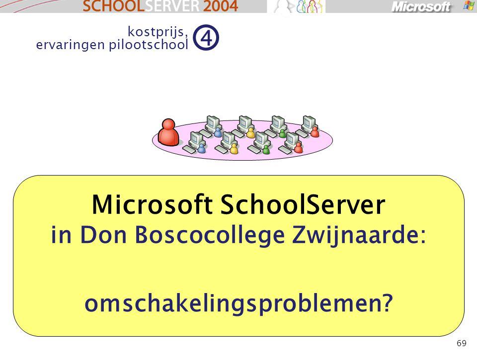 69 Microsoft SchoolServer in Don Boscocollege Zwijnaarde: omschakelingsproblemen? kostprijs, ervaringen pilootschool 4