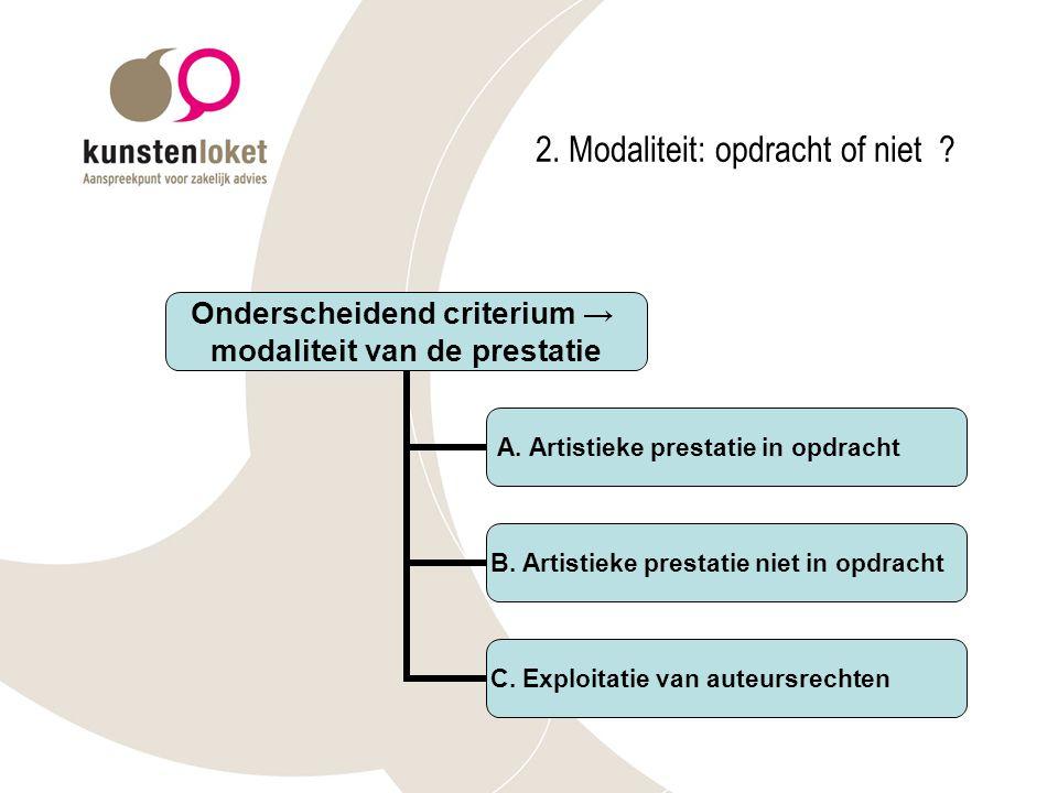 2.Modaliteit: opdracht of niet . Onderscheidend criterium → modaliteit van de prestatie A.