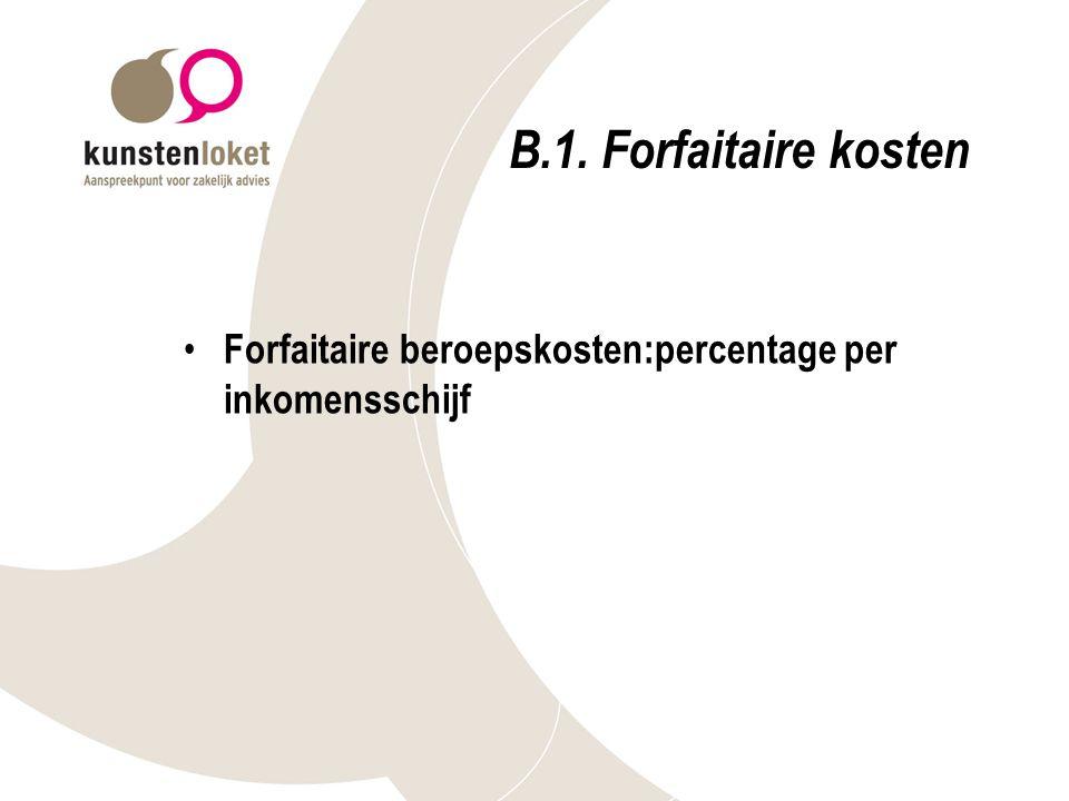 B.1. Forfaitaire kosten Forfaitaire beroepskosten:percentage per inkomensschijf