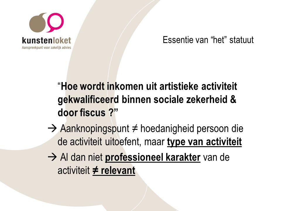 Bijzondere regels voor kunstenaars Indien een uitkering wordt bekomen: regels zijn dezelfde voor iedereen Twee bijzondere regels voor kunstenaars: - voordeelregeling (korte contracten) - vrijstelling niet-artistiek werk (156 'artistieke' arbeidsdagen/18 maanden)