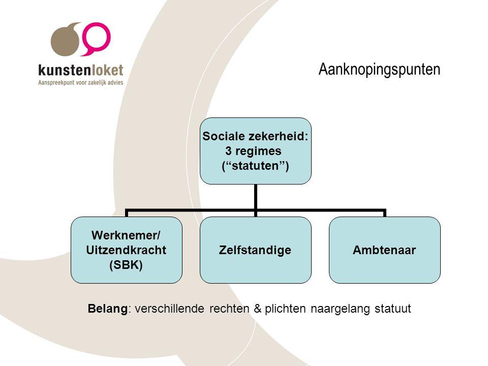 Aanknopingspunten Sociale zekerheid: 3 regimes ( statuten ) Werknemer/ Uitzendkracht (SBK) ZelfstandigeAmbtenaar Belang: verschillende rechten & plichten naargelang statuut