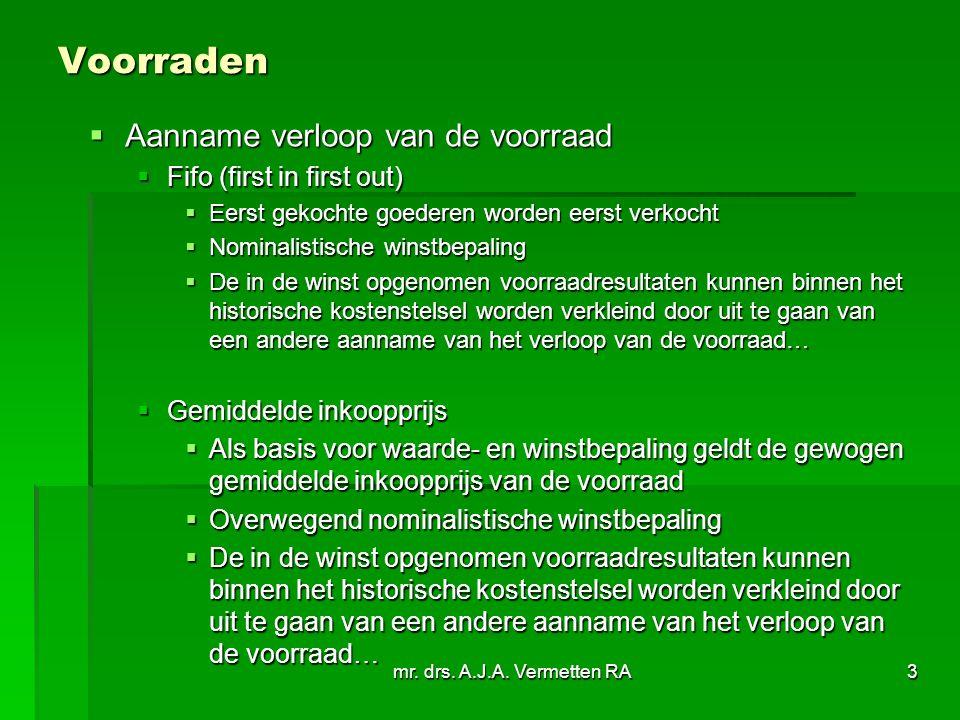 mr. drs. A.J.A. Vermetten RA3 Voorraden  Aanname verloop van de voorraad  Fifo (first in first out)  Eerst gekochte goederen worden eerst verkocht