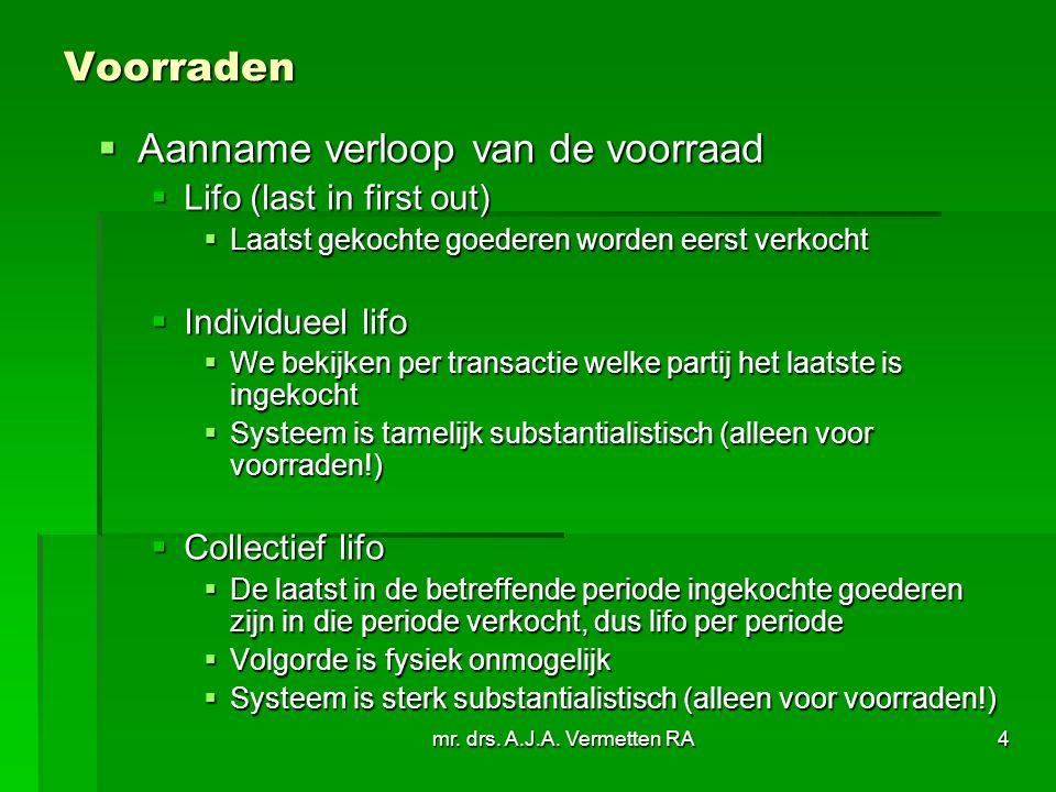 mr. drs. A.J.A. Vermetten RA4 Voorraden  Aanname verloop van de voorraad  Lifo (last in first out)  Laatst gekochte goederen worden eerst verkocht