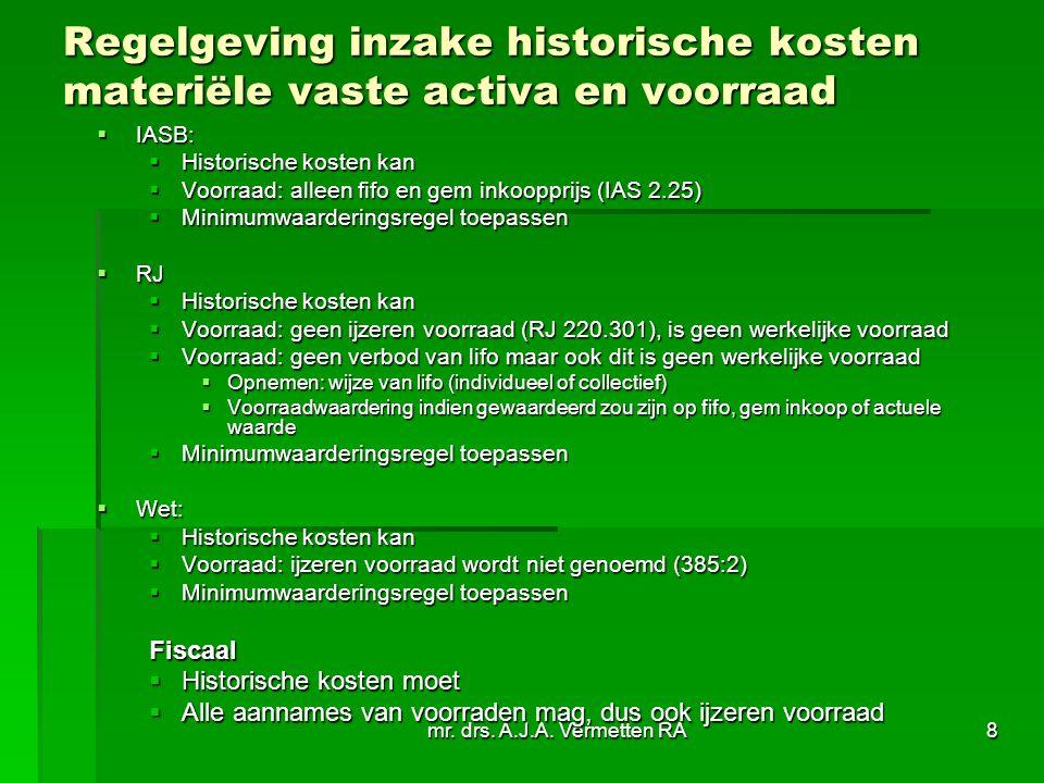 mr. drs. A.J.A. Vermetten RA8 Regelgeving inzake historische kosten materiële vaste activa en voorraad  IASB:  Historische kosten kan  Voorraad: al