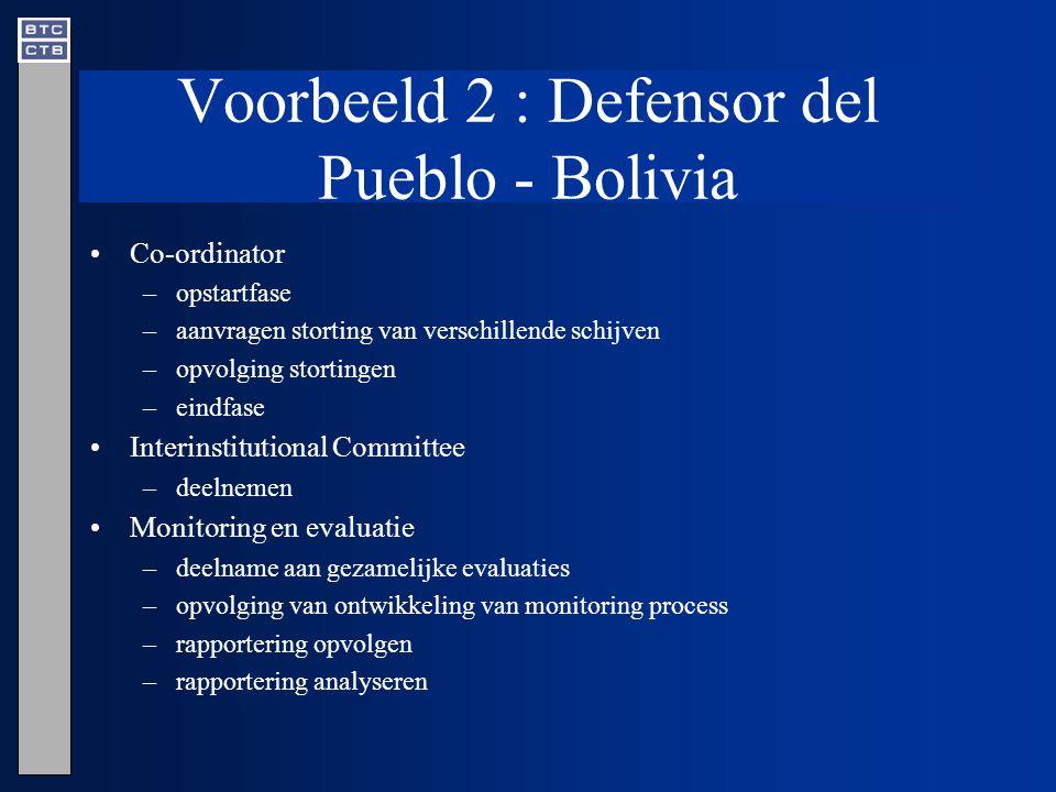 Voorbeeld 2 : Defensor del Pueblo - Bolivia Co-ordinator –opstartfase –aanvragen storting van verschillende schijven –opvolging stortingen –eindfase Interinstitutional Committee –deelnemen Monitoring en evaluatie –deelname aan gezamelijke evaluaties –opvolging van ontwikkeling van monitoring process –rapportering opvolgen –rapportering analyseren