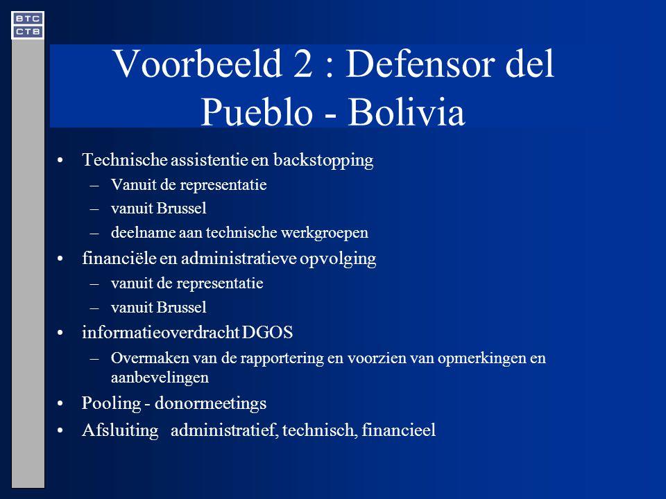 Voorbeeld 2 : Defensor del Pueblo - Bolivia Technische assistentie en backstopping –Vanuit de representatie –vanuit Brussel –deelname aan technische werkgroepen financiële en administratieve opvolging –vanuit de representatie –vanuit Brussel informatieoverdracht DGOS –Overmaken van de rapportering en voorzien van opmerkingen en aanbevelingen Pooling - donormeetings Afsluiting administratief, technisch, financieel