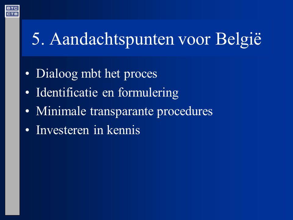 5. Aandachtspunten voor België Dialoog mbt het proces Identificatie en formulering Minimale transparante procedures Investeren in kennis