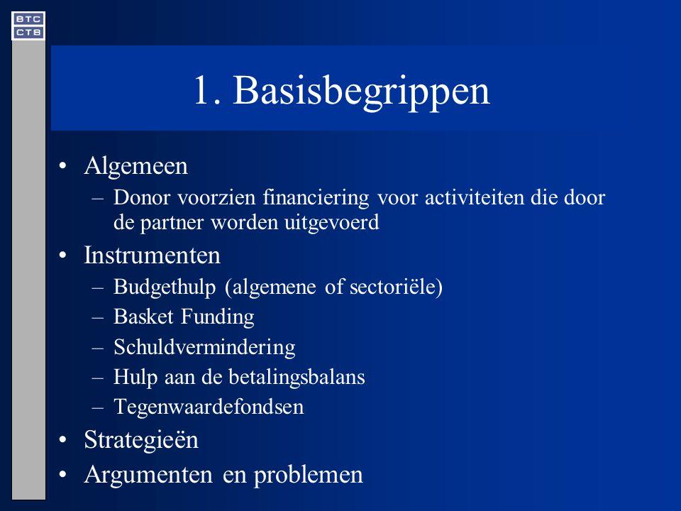 1. Basisbegrippen Algemeen –Donor voorzien financiering voor activiteiten die door de partner worden uitgevoerd Instrumenten –Budgethulp (algemene of