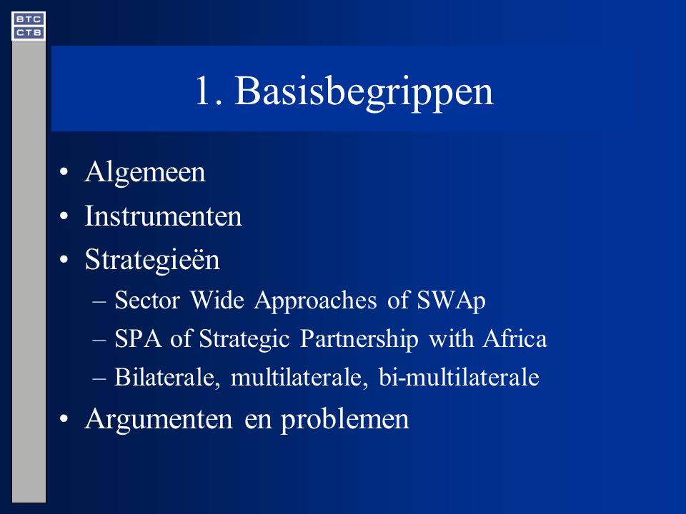 1. Basisbegrippen Algemeen Instrumenten Strategieën –Sector Wide Approaches of SWAp –SPA of Strategic Partnership with Africa –Bilaterale, multilatera
