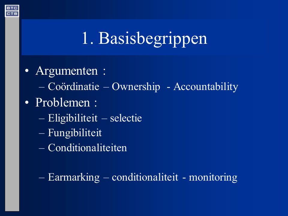 1. Basisbegrippen Argumenten : –Coördinatie – Ownership - Accountability Problemen : –Eligibiliteit – selectie –Fungibiliteit –Conditionaliteiten –Ear