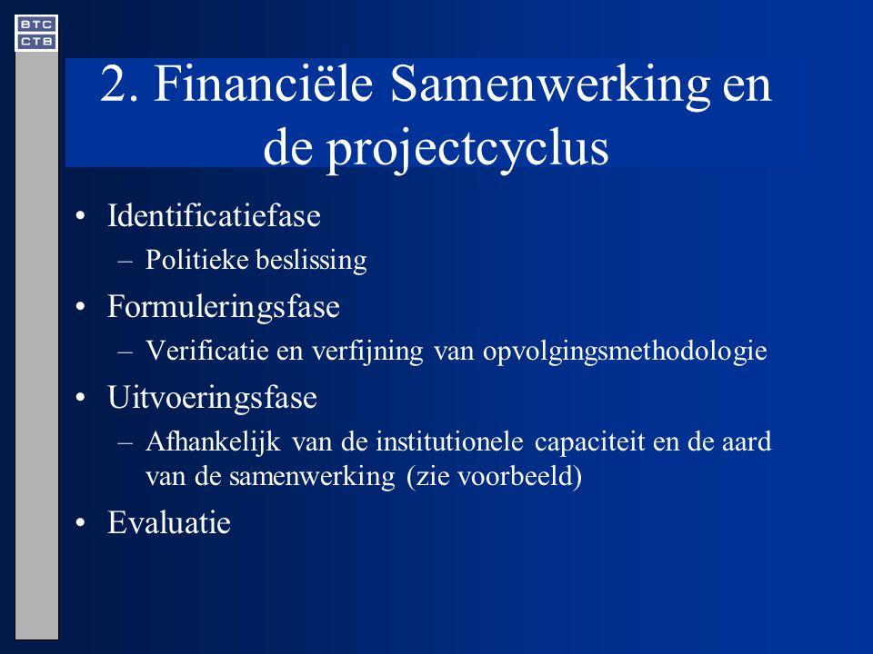 2. Financiële Samenwerking en de projectcyclus Identificatiefase –Politieke beslissing Formuleringsfase –Verificatie en verfijning van opvolgingsmetho