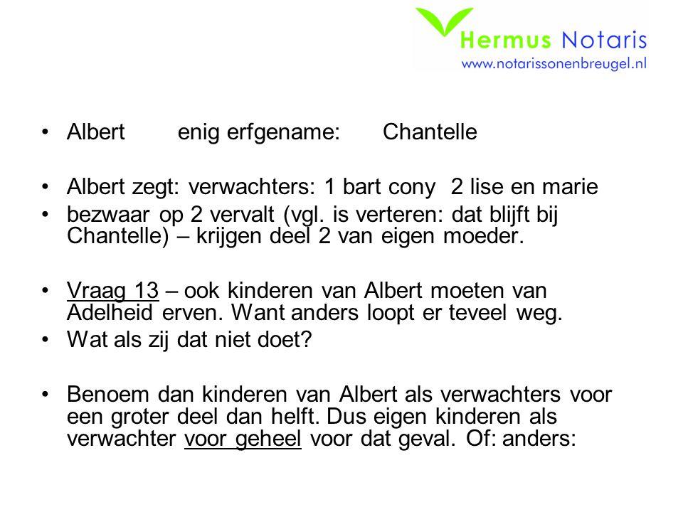 Albertenig erfgename:Chantelle Albert zegt: verwachters: 1 bart cony 2 lise en marie bezwaar op 2 vervalt (vgl. is verteren: dat blijft bij Chantelle)