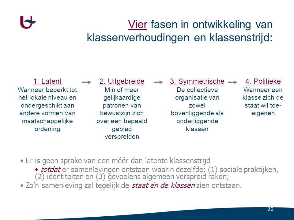 20 Vier fasen in ontwikkeling van klassenverhoudingen en klassenstrijd: Er is geen sprake van een méér dan latente klassenstrijd totdat er samenleving