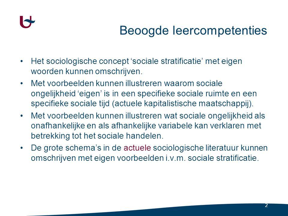 2 Beoogde leercompetenties Het sociologische concept 'sociale stratificatie' met eigen woorden kunnen omschrijven. Met voorbeelden kunnen illustreren