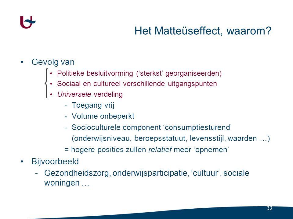 32 Het Matteüseffect, waarom? Gevolg van Politieke besluitvorming ('sterkst' georganiseerden) Sociaal en cultureel verschillende uitgangspunten Univer