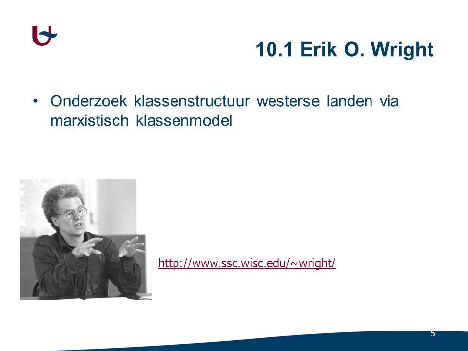 5 10.1 Erik O. Wright Onderzoek klassenstructuur westerse landen via marxistisch klassenmodel http://www.ssc.wisc.edu/~wright/