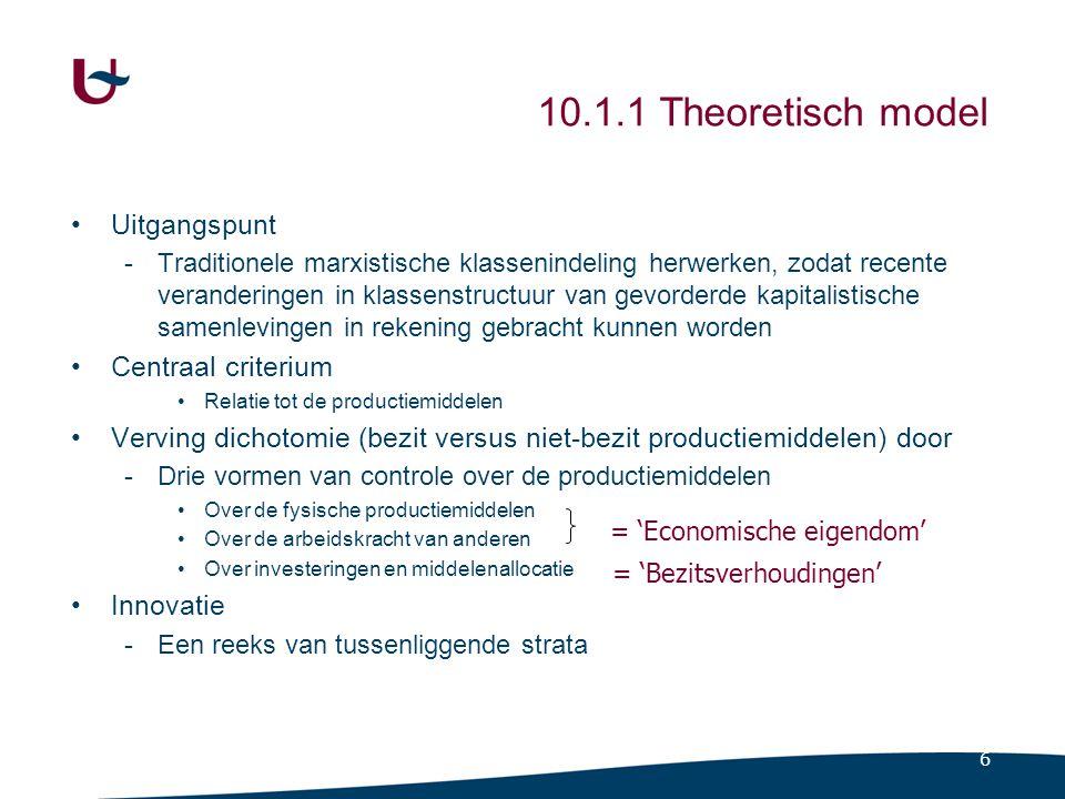 6 10.1.1 Theoretisch model Uitgangspunt -Traditionele marxistische klassenindeling herwerken, zodat recente veranderingen in klassenstructuur van gevo