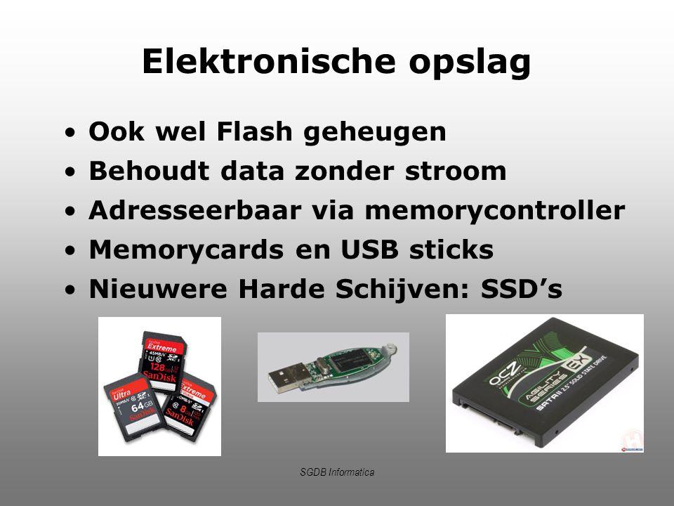 SGDB Informatica Elektronische opslag Ook wel Flash geheugen Behoudt data zonder stroom Adresseerbaar via memorycontroller Memorycards en USB sticks N