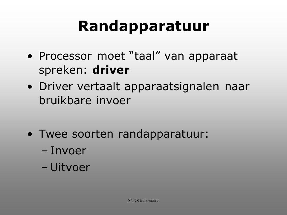 """SGDB Informatica Randapparatuur Processor moet """"taal"""" van apparaat spreken: driver Driver vertaalt apparaatsignalen naar bruikbare invoer Twee soorten"""